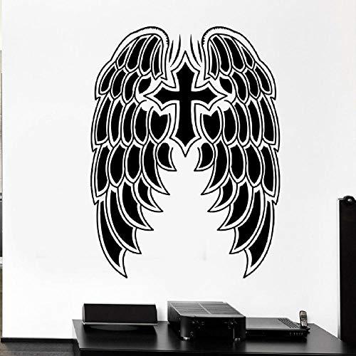 Wall Sticker Heaven Demon Angel Wings Croce Simbolo Vinyl Wall Sticker Art Window Chiesa Camera da letto Home Decor