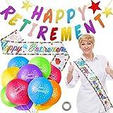 Set de Decoración de Happy Retirement Incluye 18 Globos de Happy Retirement de 12 Pulgadas Globos de Látex de Jubilación, Bandera de Happy Retirement y Banda de Fiesta de Happy Retirement