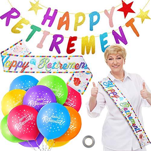 Set di Decorazioni Happy Retirement Include 18 Palloncini Happy Retirement da 12 Pollici Palloncini in Lattice di Pensionamento, Banner di Stamina e Fascia per Festa di Pensionamento