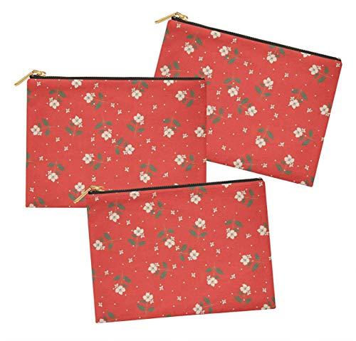 S4Sassy Orange dot & cardamine floral lot de 3 sacs à maquillage maquillage-6 x 8 pouces