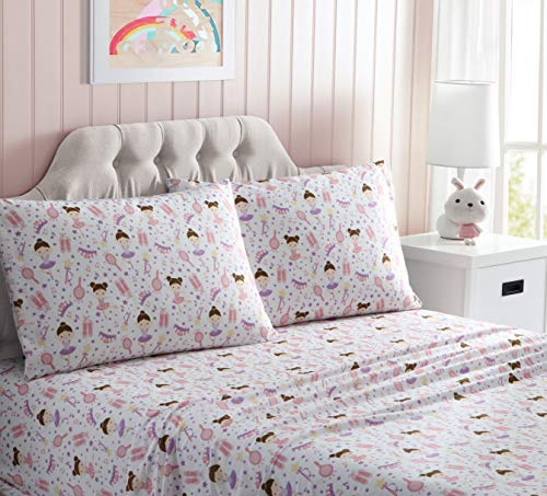 Kute Kids Super Soft Sheet Set – Ballerina – Includes Pillowcase(s) Available in Twin & Full Size (Full)
