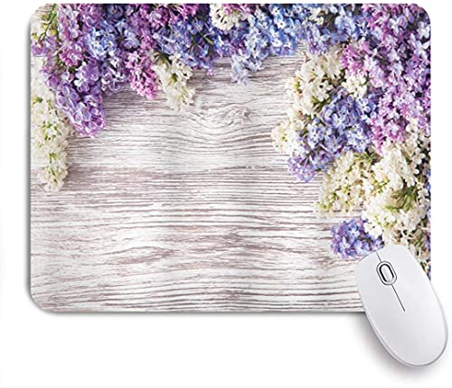 XWJZXS Alfombrilla de ratón, Ramo de Flores de Color Lila rústico sobre Mesa de Madera Primavera Naturaleza Romance Amor TemaOficina, Alfombrilla de ratón para Juegos en casa