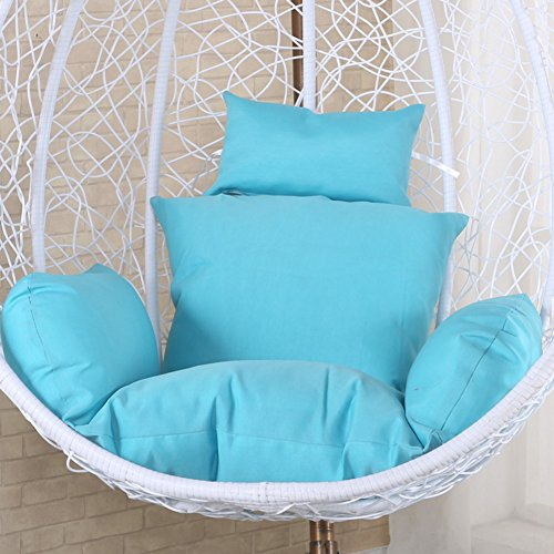 Tina's Hanging Egg Hammock Chair Cushions,Out Stand Solid Color Wicker Swing Seat Cushion Thick Nest Pillow Courtyard-Sky Blue
