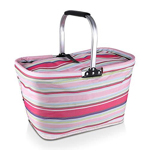 JIAQI Faltbarer Picknickkorb – isolierter Marktkorb mit Deckel Große Kühltasche für Einkaufen und Camping Rose
