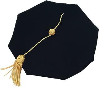 Graduation Doctoral Tam Black Blue Velvet with Gold Bullion Tassel