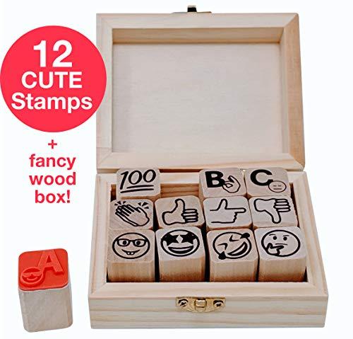 Stampmojis Emoji Teacher Grading Stamps - Grading Stamp Set | 3/4' Teacher Stamps for Grading Ink Not Included