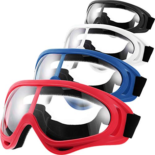 4 Pairs Protective Goggles Safety Glasses Eyewear for Teens Game Battle Hiking and Sand Prevention (Blue, Red, White, Black)