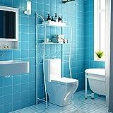 トイレ保管用、2層金属製トイレ保管ラック、ランドリーシェルフ、スペースセーバーオーガナイザーユニット、2つのフック付き洗濯機浴室保管用、68x28x160cm(ホワイト)