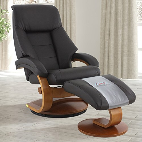 Oslo Collection Mac Motion Leather Recliner with Matching Ottoman, Expresso and Walnut Finish