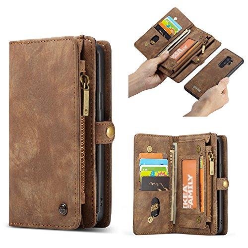 HülleMe Samsung Galaxy S9 Hülle, Multifunktionale Flip Folio Zipper Wallet Ledertasche mit Kartensteckplätzen & Magnetic Back Cover für Samsung Galaxy S9 5,8 Zoll (Braun)