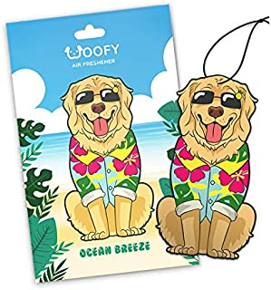 Woofy Hanging Car Air Freshener - Adorable Doggy Design - Long Lasting Scents [ Pack of 3 Ocean Breeze ]