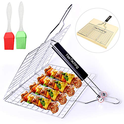 Yeeteching Grill Basket?Portable Stainless Steel BBQ Barbecue Fish Grilling Baket for Fish,Vegetables, Steak,Shrimp,...