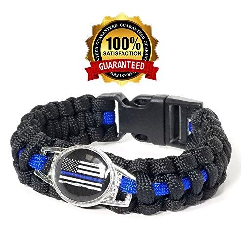Police para-Cord Survival Bracelet | Police Thin Blue Line (9, L)