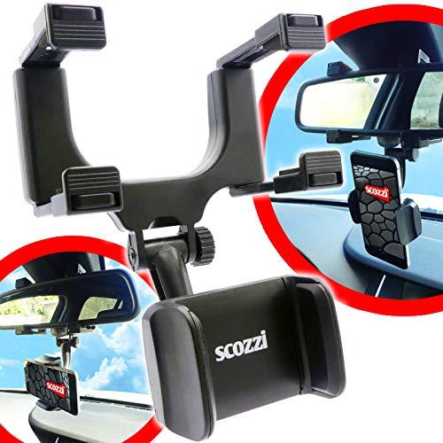 scozzi Soporte de teléfono móvil para coche, espejo retrovisor para teléfono móvil (compatible con Samsung, iPhone, Huawei) S21 S20 S10 S9 A71 A51 P40 12 11 X XS XR Plus Ultra Mini Pro