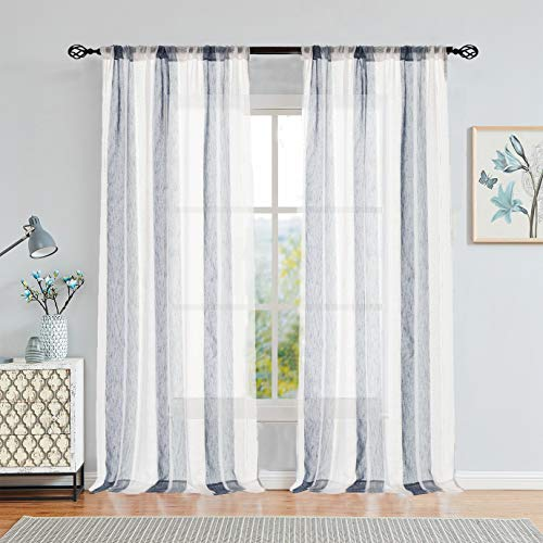 Central Park Sheer Navy Blue and White Stripe Farmhouse Curtains Boucle Linen Window Curtain Panel Pairs Yarn Dyed Woven 84 Inches Long for Living Room Bedroom 2 Pack Rod Pocket Rustic Living Panels