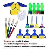 Pennelli di pittura bambino Spazzole di pittura insieme a spugna con tavolozza e grembiule centtechi apprendimento precoce disegno artigianale DIY Strumenti (18pcs)