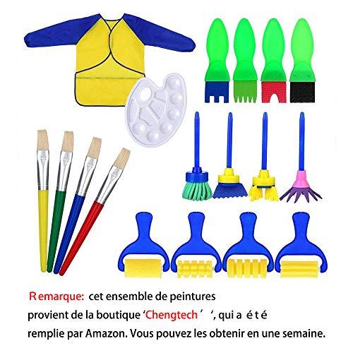 Kinder-Malset, 18-teilig, mit Pinseln, Palette, und Schürze, waschbar, verschiedene Farb-Rollen, Lernspiel für frühreife Kinder