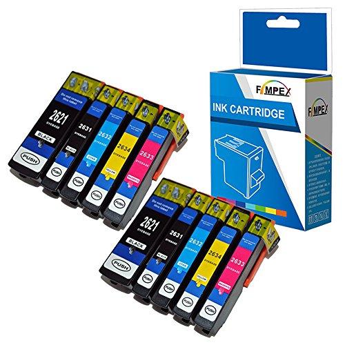 Fimpex Compatible Encre Cartouche Remplacement pour Epson XP510 XP520 XP600 XP605 XP610 XP615 XP620 XP625 XP700 XP710 XP720 XP800 XP810 XP820 26XL (Noir/Photo-Noir/Cyan/Magenta/Jaune, 10-Pack)