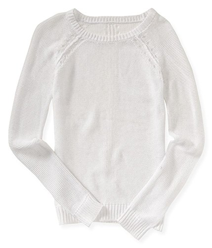 Aeropostale Womens Open Dot Knit Sweater, White, Medium