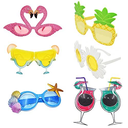 6 Paar Neuheit Party Sonnenbrille, Party Sonnenbrillen Hawaiian, Tropical Brillen Flamingo, Sehr Interessante Brille, Geeignet zum Fotografieren und Feiern(6 Stile)