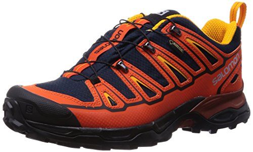 Salomon X Ultra 2 GTX, Zapatillas de Senderismo para Hombre, Naranja-Orange (Deep Blue/Tomato Red/Yellow Gold), 41 1/3 EU