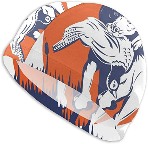Suhatt Gorro de baño, Music Themed Hand Drawn Abstract Instruments Microphone Drums Keyboard Stradivarius,For Men Women Youths