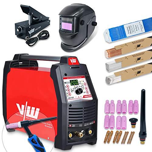 Vector Welding - Equipo de soldadura profesional AC DC con 200 Amp - Electrodos IGBT - Equipo de soldadura de gas protector - MMA ARC ACDC E-Hand Puls 230v Mini