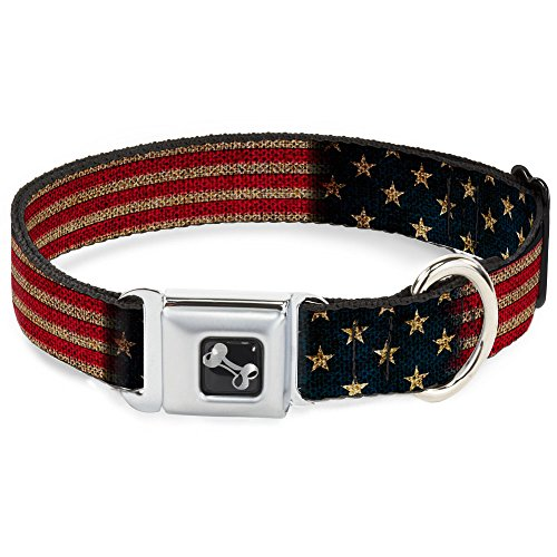 Buckle-Down Seatbelt Buckle Dog Collar - Vintage US Flag Stretch - 1' Wide - Fits 15-26' Neck - Large