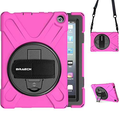 BRAECN Heavy Duty Case for Amazon Fire HD 8 Plus & Amazon Fire HD 8 Tablet 10 Generation 2020 Model,Rugged Armor Shockproof Case Cover for Kids with Handle Hand Strap Kickstand Shoulder Strap-Rose