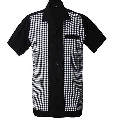 Rockabilly Fashions Herren Beiläufig Hemd zugeknöpft der 1950er Jahre 1960er Jahre Bowling Retro Vintages Hemd der Männer, Schwarz; Weiß (XXL)
