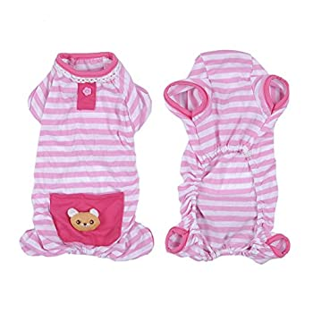 Pet Dog Pajamas Soft Cotton Shirt Jumpsuit Cute Overall Doggy Cat Strip Clothes Comfortable Apparel for Play Sleep