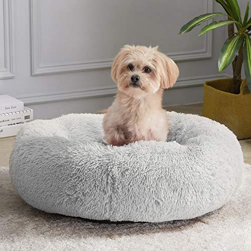 WAYIMPRESS Beruhigendes Hundebett für kleine Hunde und Katzen, bequem, selbstwärmend, rund, mit flauschigem Kunstfell gegen Angst und Gemütlichkeit (71,1 x 71,1 cm, grau)