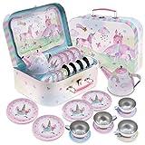 Jewelkeeper - Kinderspiel Zinn Teeservice & Tragetasche, Kindergeschirr Spielküche, 15-teilig - Party-Einhorn-Design