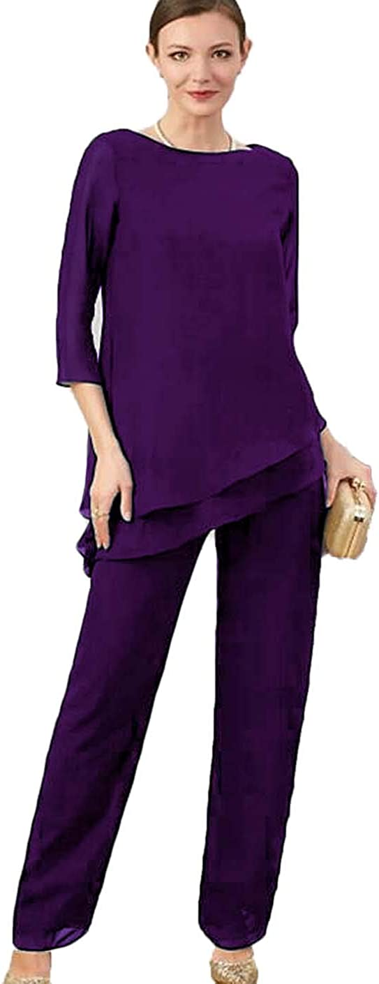 Xixi House 2 Pieces Mother of The Bride Pant Suits Jewel Long Sleeves Jumpsuits Prom Gowns Plus Size Wedding Guest Dress