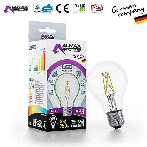 ARUANA LED GMBH INTERNATIONAL 0029 LED Birne A60, E27, clear, 6W 220-240 V, 750 lm, 2800 K, Weiß, 1