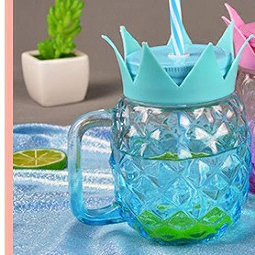 Erjialiu 500Ml ananas Sippy Cup met deksel koud drinken sap Cup grote capaciteit glas Mason Cup