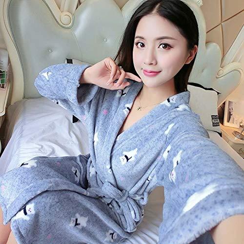 AAJTCT comfortabele soft-flanel coral fleece dames warm volle mouwen super lange badjas vrouwelijke kimono badjas ochtendjas Roben herfstwinter voor dames (kleur: W, maat: XL (170cm))