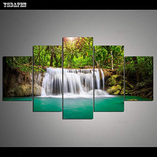 HTBYTXZ 5 Piezas de Lienzo Pared Arte Cascada Pintura Lienzo salón módulo de Pared Pintura Mural Arte 40x60 40x80 40x100cm sin Marco