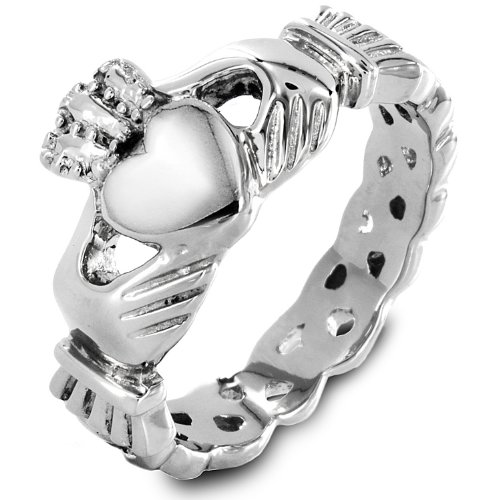 | ELYA Stainless Steel Claddagh Ring with Celtic Knot - Size 8