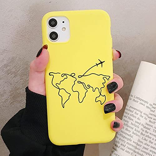 LIUYAWEI World Map Travel Funda para teléfono para iPhone 12 11 Pro XR X XS MAX 8 7 Plus SE Mini Fundas de Silicona esmerilada Cubierta Trasera Suave, P1Yellow, para iPhone 8 7 Plus