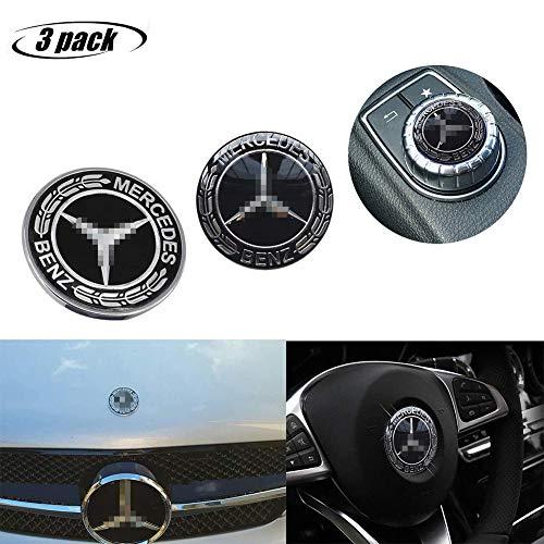 L&U Insignia de Emblema de Estrella de capó de vehículo Plano de Metal de 3 Piezas + Pegatina de Volante + Pegatina de Control Multimedia para Mercedes Benz Class Decoration,Negro