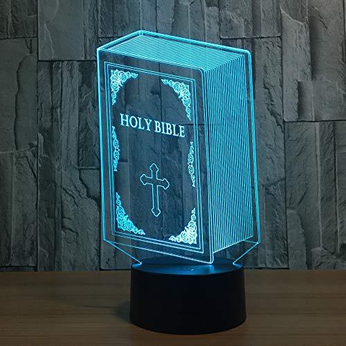 BFMBCHDJ Die Bibel Modell 3D Bulbing Licht visuelle Illusion LED Atmosphäre Lampe bunte Nachtlichter 3D Visu Touch USB Tisch Lampara Lampe
