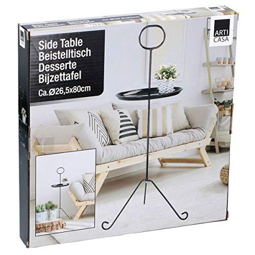 ArtiCasa Beistelltisch Retro Tisch rund 26x80cm Metall in Schwarz oder Weiß Couchtisch, Farbe:schwarz