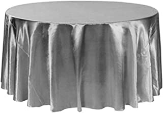 Qchengsan Round Tablecloth 90 inch - Solid Polyester Circular Table Cover for Wedding Restaurant Party Picnic Home Dinner,Silver Table Cloth