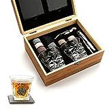 ZHGYD. Whisky Stones Geschenk-Set - Whiskyglas Set Von 2 - Granit Chilling Whisky Rocks - Scotch Bourbon Whisky Glass Geschenkbox Set