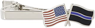 Thin Blue Line Police x USA American Flag Tie Clip - Gold & Silver Tone Tie Bar!