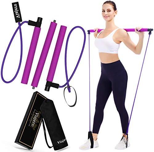 Viajero Pilates Bar Kit for Portable Home Gym Workout 2 Latex Exercise Resistance Band 3 Section product image