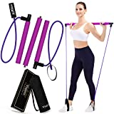 Viajero Pilates Bar Kit for Portable Home Gym Workout - 2 Latex Exercise Resistance Band - 3-Section Sticks - All-in-one Strength Weights Equipment for Yoga Body Fitness Squat with E-Book & Video