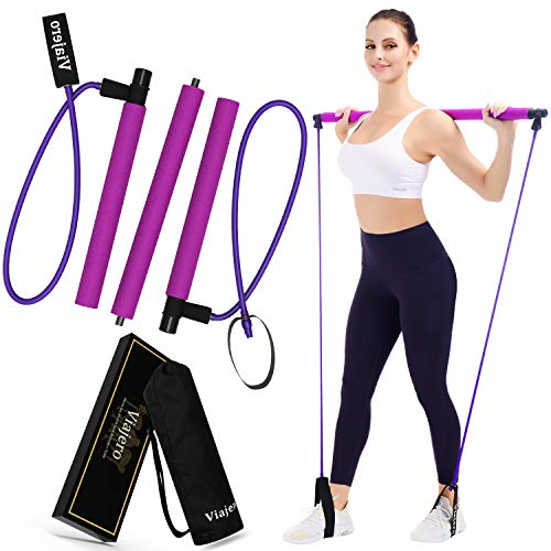 Viajero Pilates Bar Kit for Portable Home Gym Workout - 2 Latex Exercise Resistance Band - 3-Section Sticks - All-in-one Strength Weights Equipment for Body Fitness Squat Yoga with E-Book & Video