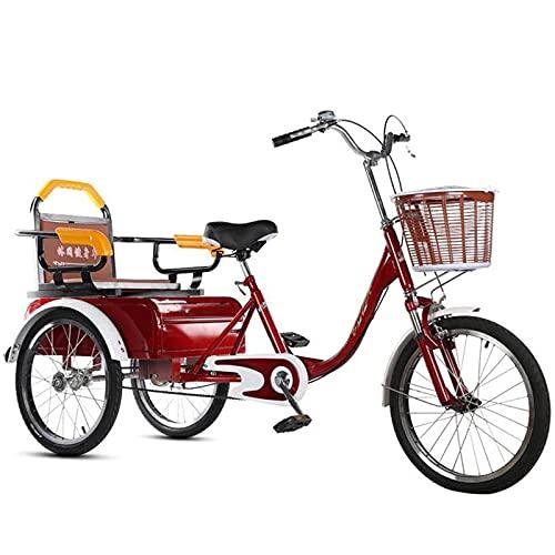 zyy Dreirad für Erwachsene 20 Zoll 1 Gang Aluminiumrahmen für Erwachsene Tricycle Lastenfahrrad Senioren Shopping Bike Aus Kohlenstoffstahl mit Korb (Color : Red, Size : Single Chain)
